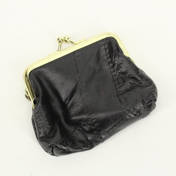Vintage Handbags - Black Leather Kiss Lock Coin Purse